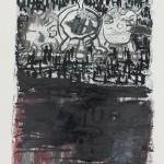 008' Horizon' 2017 Drawing on Monotype Base, Mixed Media 50 cm x 40 cm